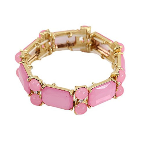 TrinketSea Women Chain Bracelets Fashion Jewelry Elastic Thread Platic Zinc Alloy Adjustable (Pink)