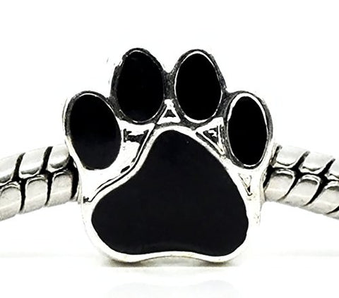 "Best Wing Jewelry ""Black Paw Print"" Charm Bead for Snake Chain Charm Bracelets"
