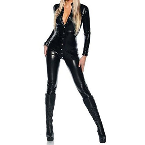 Colorful House Women's Costume Wet Look Black Catsuit Bodysuit US Size 2-12