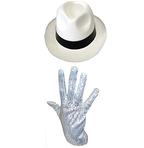 Glossy Look Men's Michael Jackson Hat & Sequin Glove Al Capone Gangster One Size White Hat & Sequin Glove