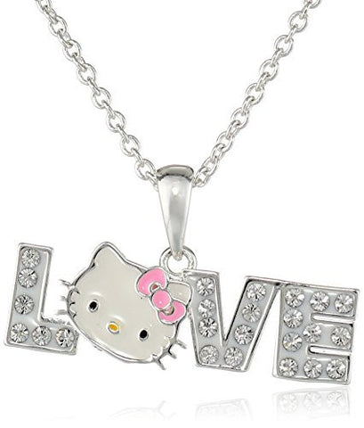 Hello Kitty Fine Silver Plated Crystal LOVE Pendant Enhancer, 18""