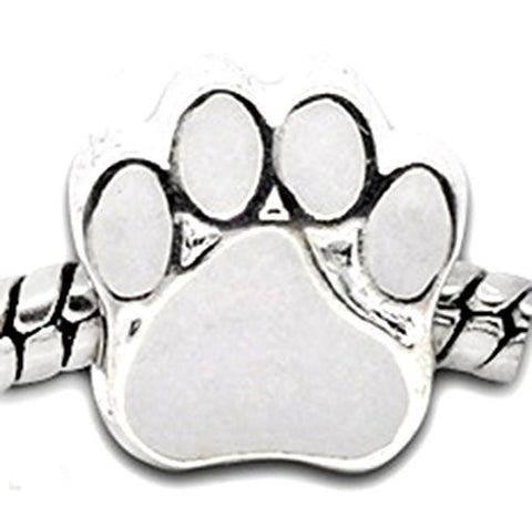 "Best Wing Jewelry ""Paw Footprint"" Charm Bead for Snake Chain Charm Bracelets (White)"