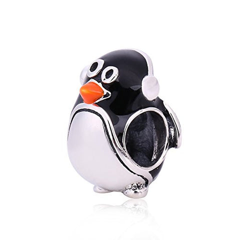 Valentine's Penguin Charm - 925 Sterling Silver Animal Bead for Pandora Charms Bracelet
