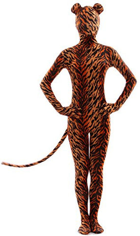 Seeksimle Unisex Tiger Print Full Body Suit Zentai with Ear and Tail (Medium, Tiger)