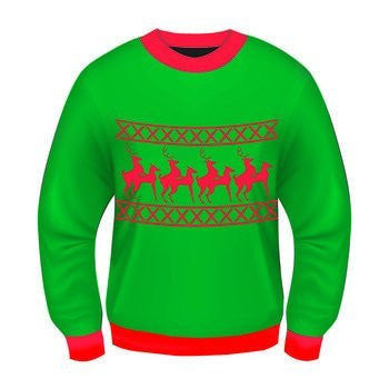 Ugly Christmas Sweater Funny Reindeer Games Green