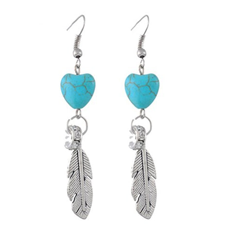 MJartoria Turquoise Heart Feather Drop Dangle Earrings Alloy With Tibetan Silver Color