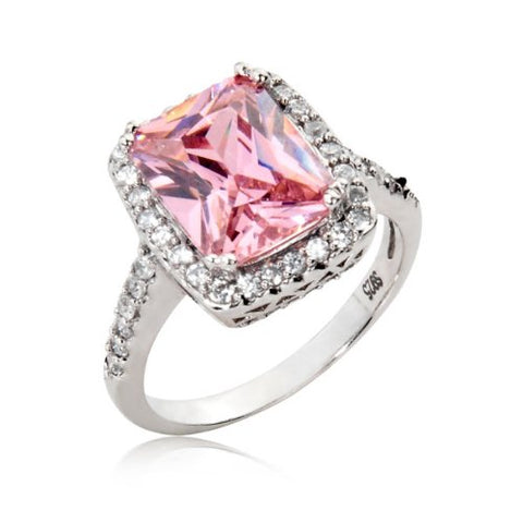 Sterling Silver Engagement Wedding Ring Radiant Cut Pink Cubic Zirconia CZ Ring 4.5 ct.tw - Nickel Free [Size 9]