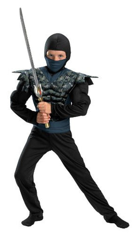 Disguise Shadow Ninjas Night Fury Night Camo Ninja Classic Muscle Boys Costume, 7-8