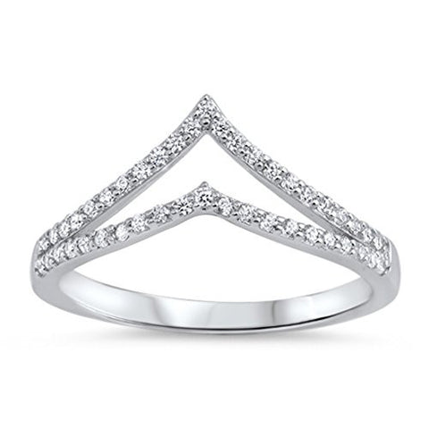 Double Chevron Midi Ring Half Eternity Round Pave Cubic Zirconia 925 Sterling Silver 5-10