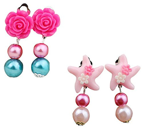 Glitter pearl earrings girl earring girl without ear pierced ear clip Pearl Clip-on Earrings Value Set 2 Pairs (color2)