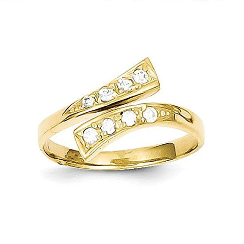 10k Yellow Gold High Polished CZ Adjustable Toe Ring