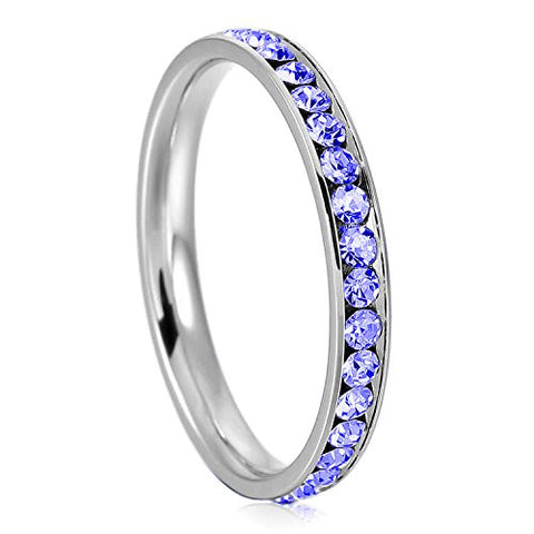 3mm Stainless Steel Eternity Blue Sapphire Color Crystal Stackable Wedding Band Ring, Size 8