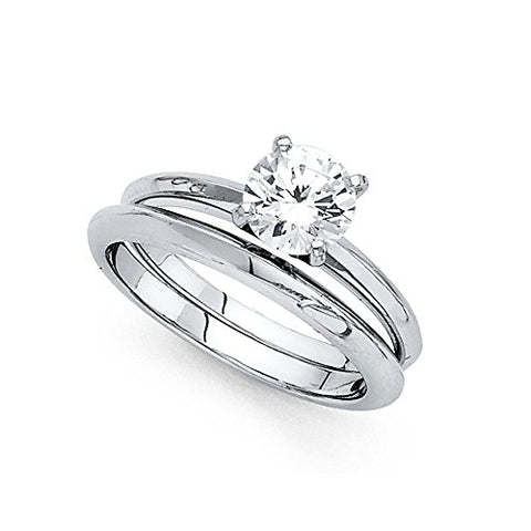 Solitaire CZ Engagement Ring & Wedding Band Set 14k White Gold Round CZ Bridal Rings Set Women Size 9