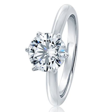 Sterling Silver Round 1.5ct CZ 6 prong Classic Solitaire Wedding Engagement Ring 7.5MM (Size 5 to 10), 7