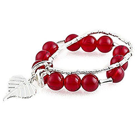 Beautiful Bead Women Elegent Ruby Red Crystal Zine Alloy Round Beads Bracelet Wristband - Red