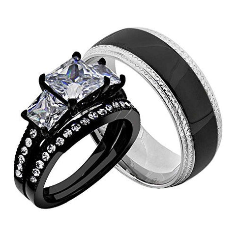 Stainless Steel Black Princess Cubic Zirconia His And Hers Wedding Ring Sets Stainless Steel Men Band