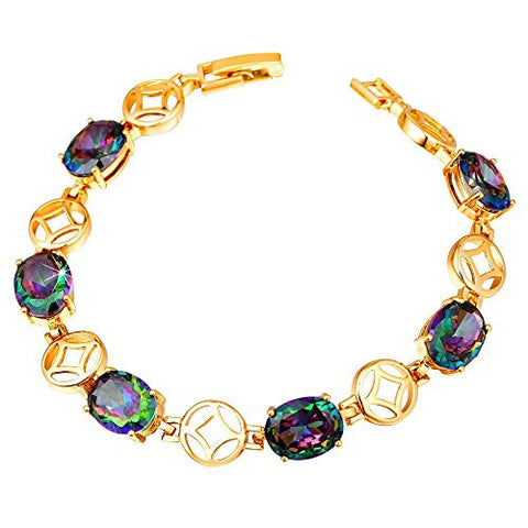 U7 Colorful Zircon Crystal Bracelet 18K Gold Plated CZ Bracelets (7 Inch)