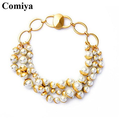 Comiya big brand copper imitation pearl beads chokers necklaces bijoux femme statement necklace decoration bisuteria mujer