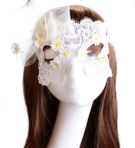 micrkrowen Halloween party cosplay mask White lace Yellow flowers Kamen