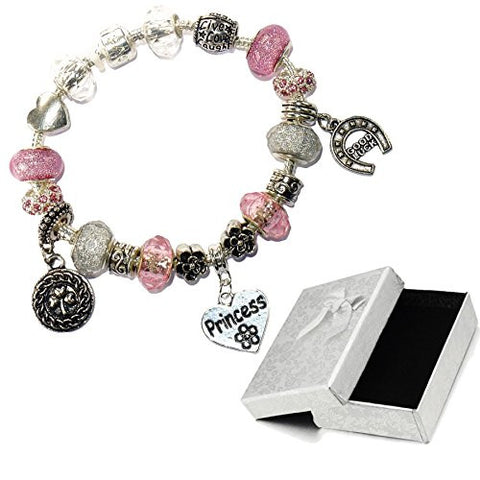 Charm Buddy Princess Pink Silver Crystal Good Luck Pandora Style Bracelet With Charms Gift Box