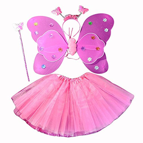 Quesera Girl's Fairy Princess Costume Set Tutu Wing Wand Headband Dress Up Accessory, Rose Red, free size fits ages 3-6