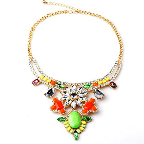 Luxury Brands High-end Retro Big Exaggerated Fashion Resin Rhinestones Necklace Chain Clavicle N00349