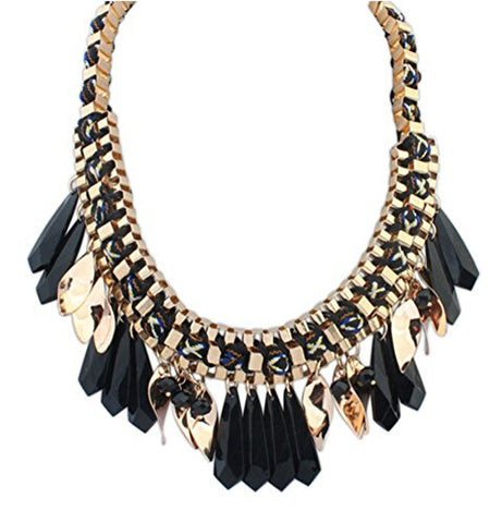 Buyinheart@ Fashion Black Chain Bubble Bib Statement Chunky Necklace, Evening Party Jewelry