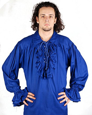 Medieval Poet's Pirate Shirt Costume [Blue] (Large)