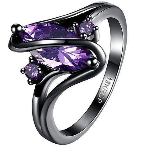BOHG Jewelry Womens Black Gold Plated Purple Amethyst Cubic Zirconia CZ Wide Halo Engagement Wedding Ring Size 8