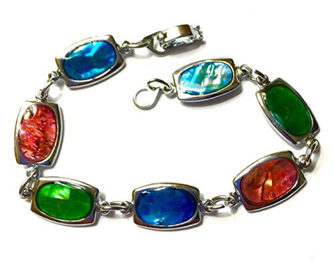Rectangle Natural Abalone paua shell Bracelet silver tone