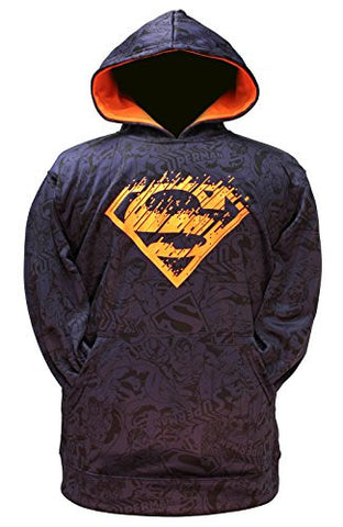 DC Comics Superman Boys Pullover Hoodie Navy (X-Small 4/5)