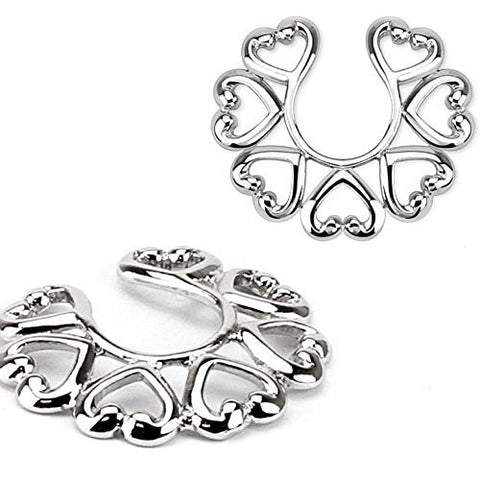 Nipple Rings non pierce pair Non-Piercing Clip On Nipple Ring / Heart Design pair