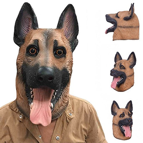 Yisige Dog Head Latex Mask Full Face Adult Mask Breathable Halloween Masquerade Fancy