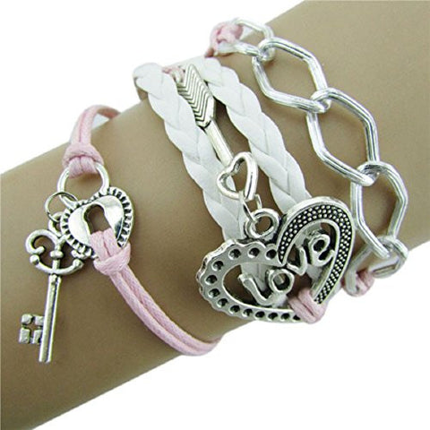Doinshop New Fahion Infinity Double Love Friendship Leather Alloy Charm Bracelet (pink)