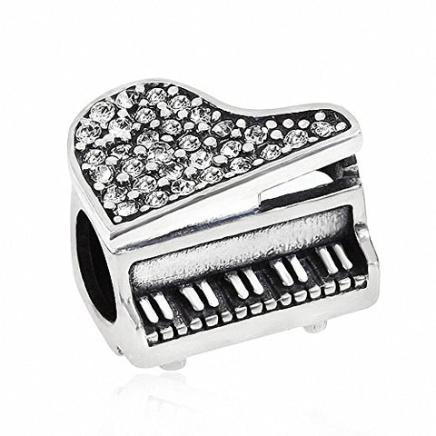 Music Piano Charms 925 Sterling Silver Birthstone Crystal Charms for 3mm Snake Chain Bracelets (Clear)