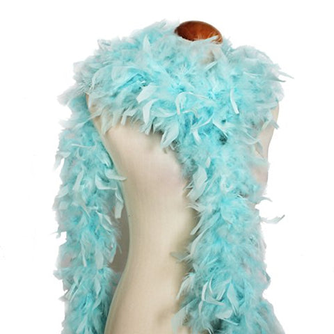 "Cynthia's Feathers 65g 72"" Turkey Chandelle Feather Boas, Over 80 Colors & Patterns to Pick Up (Aqua Blue)"