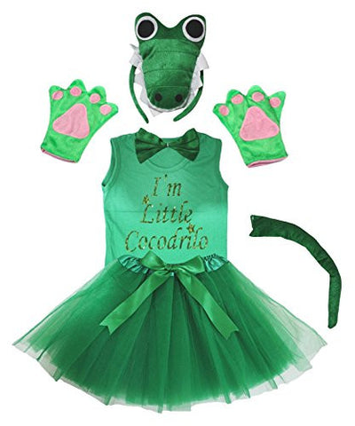 Petitebella 3D Green I m Little Crocodile Headband Tutu Shirt 6p Girl Costume (3-4 Years)