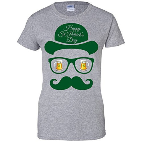 St Patrick's Day Shadow Face Man Ladies T-Shirt