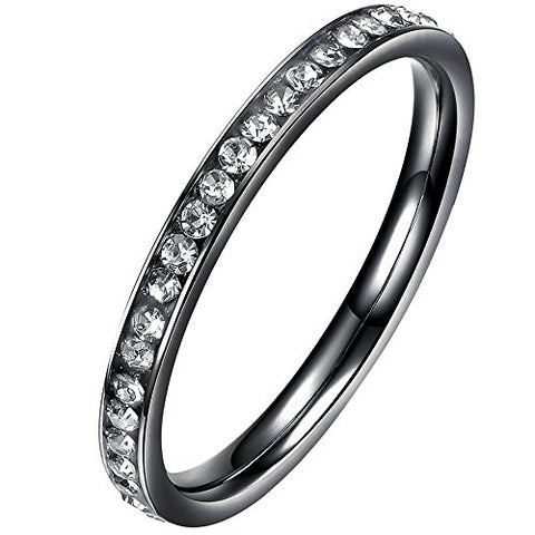 BOHG Jewelry Womens 2MM High Polished Titanium Cubic Zirconia CZ Love Eternity Ring Wedding Band Black Size 7