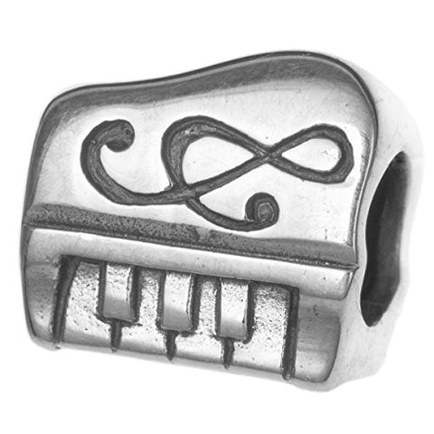 925 Sterling Silver Piano Keyboard Music Composer Clef Note Bead For European Charm Bracelet
