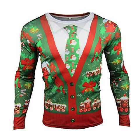 Haocloth Men's Christmas Costume 3D Printed T-shirts Long Sleeve Funny Tops Cardigan Tie Style