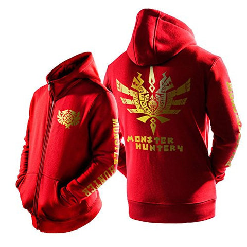 XCOSER Fashion Monster Dragon Pattern Hooded Zip Up Sweatshirt Red L