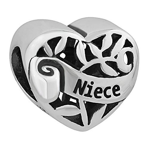 I Love You Family Tree of life Heart Authentic 925 Sterling Silver Bead Fits Pandora Charms (Niece)