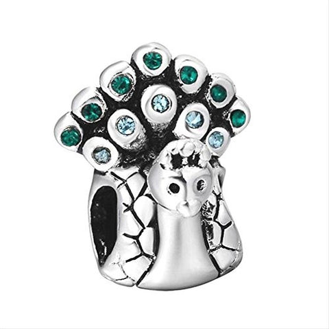 Peacock Teal Charm Beads Fits Pandora Charms Bracelet Cheap Silver Plated Zirconia Jewelry New Sale