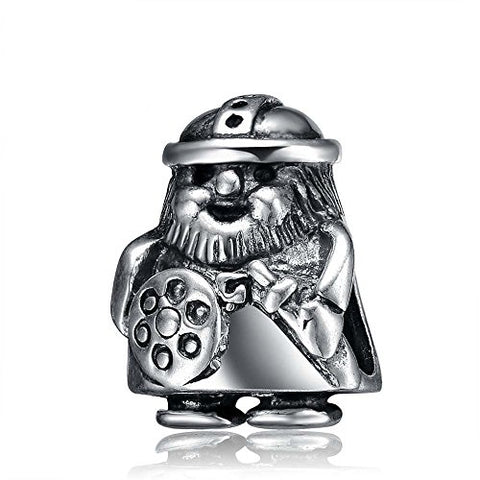 Viking Warrior Charm 925 Sterling Silver Soldier Beads Fight for Peace Charm for Bracelet