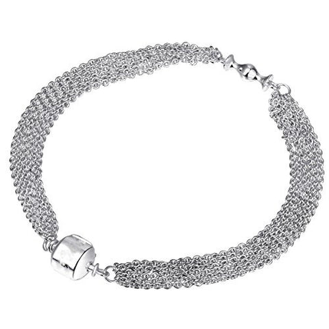 WYBeads Silver Bracelet Snake Chain Fit for Pandora Beads European Charms Women 18 CM