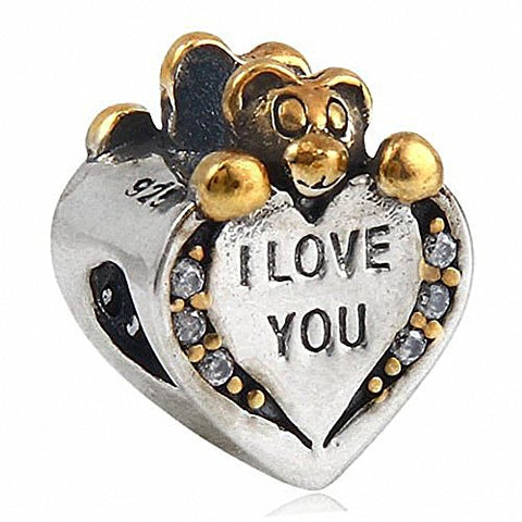 I Love You Silver Heart Charm Bead Sterling Silver 925 for European Charms Bracelet