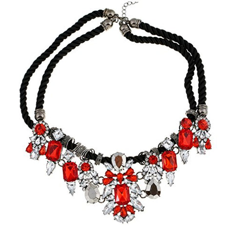 BOLY Womens Bohemain Twist Chain Rhinestone Crystal Pendent Bib Statement Necklace Collar