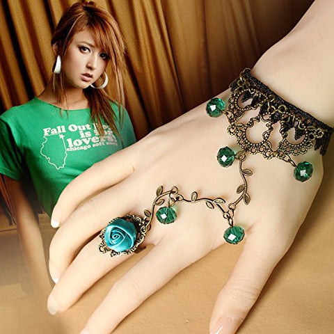 Meiysh Lolita Green Rose Branch Shape Crystal Metal Black Lace Slave Bracelets with Ring for women 5.9 in (Green)