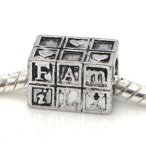 "Jewelry Monster Antique Finish ""Family Blocks w/ Hearts"" Charm Bead for Snake Chain Charm Bracelet"